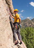 Senior man starting rock climb in Colorado — Stock Photo