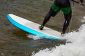 Expert stand up paddleboarder in white water — Stock Photo