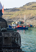 Lobster pots or traps on harbour wall in Boscastle — Stock Photo