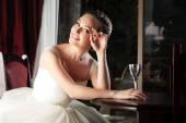 Bride in restaurant. — Stockfoto