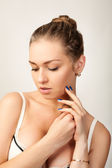 Portrait of glamour sexy young woman with dark blue nails. — Stock Photo