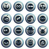 Ikony emocji i spojrzenia — Wektor stockowy