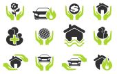 Insurance vector icons — Stock Vector