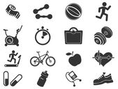 Set of  icons on fitness. — Stock Vector