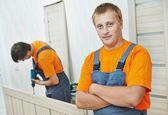 Door installation carpenter worker — Stok fotoğraf