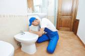 Plumber man worker — Foto Stock