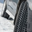 Winter tyres wheels installed on suv car outdoors — ストック写真