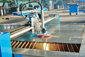 Laser or plasma cutting of metal sheet with sparks — Foto de Stock