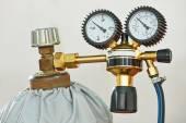 Welding acetylene gas cylinder tank with gauge — Stock Photo