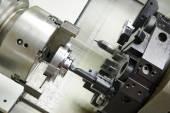 Metal boring process on machine tool — Stock Photo