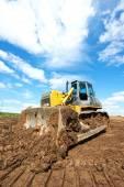 Track-type loader bulldozer excavator at work — Stock Photo