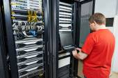 Service engineer in server room — Stock Photo