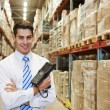 Manager in warehouse — Stok fotoğraf #53556609