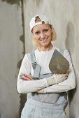 Female plasterer portrait — Stock Photo