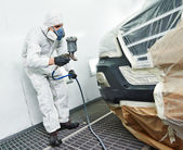 Car repair painting in chamber — Foto Stock