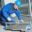 Tiler working with tile cutting equipment — Stock Photo #56900665