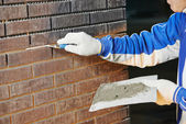 Bricklaying Using the Brick Jointer Trowel — Foto Stock