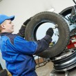 Car wheel lubrication during replacement — Stock Photo #57494447