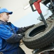 Car wheel tyre fitting or replacement — Stock Photo #57494457