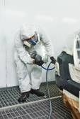 Car repair painting in chamber — Stock Photo