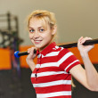 Woman with stick in fitness gym — Stock Photo #61469613