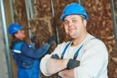 Construction worker at insulation work — Stock Photo