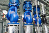 Gas heating system boiler room equipments — Foto de Stock