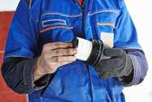 Car maintenance - oil filter replacing — Stock Photo