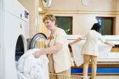Hotel linen washing service — Stock Photo