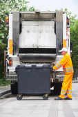 Urban recycling waste and garbage services — Stock Photo