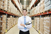 Manager worker  in warehouse — Stock Photo