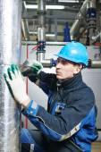 Industrial worker at insulation work — Stock Photo