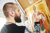 Religious icon painting process — Stock Photo