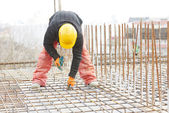Construction worker builder at reinforcement work — Stock Photo