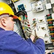 Electrician measure voltage and current — Stock Photo #71023469
