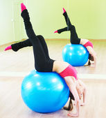 Pilates exercises with fitness ball — Stockfoto