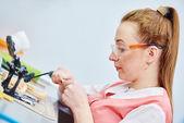 Prosthetic dentistry technician — Stock Photo