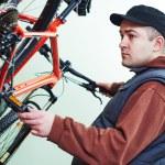 Bicycle repair or adjustment — Stock Photo #73238317