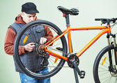 Bicycle repair or adjustment — Stock Photo