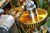 Metalworking: gearwheel machining — Stock Photo