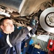 Auto mechanic at car brake shoes eximining — Stock Photo #75473099