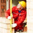 Construction mason worker bricklayer — Stock Photo #75473289