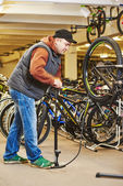 Bike repair or adjustment — Stock Photo