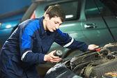 Car maintenance - oil replacing — Stock Photo