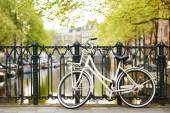 Bike on amsterdam street in city — Stock Photo