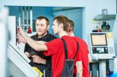 Workers at manufacture workshop — Stock Photo