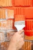 Orange brick wall painted — Stock fotografie