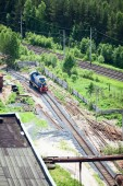 Shunting train on industrial plant — Stock Photo
