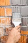 Orange brick wall painted — Stock Photo