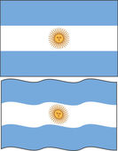 Flat and waving Argentine Flag. Vector — Stock Vector